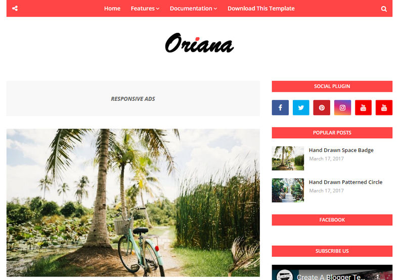 Oriana Blogger Template is an elegant looking blogspot theme with super clean design and eye-catching look.