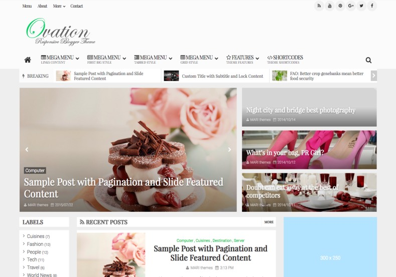 Ovation Blogger Template. Best magazine blogger template to buy Ovation Blogger Template.