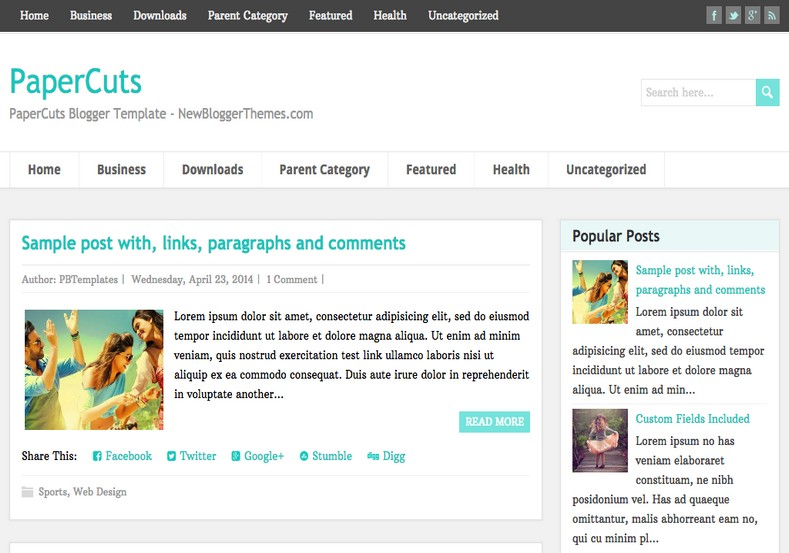PaperCuts Blogger Template. Blogger templates 2015. Free blogger templates. blogspot themes