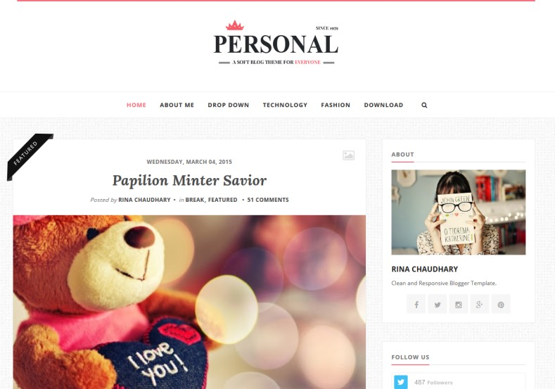 Personal Clean Blogger Template. Blogger Themes. Free Blogspot templates for your blogger blog. Best suitable for news blog templates. Best Ads ready blogspot templates help for add adsense ad code and easily showing adsence ads in your blog. Adapted from WordPress templates are converted from WordPress themes. It is help for take your rich. Blogger magazine template specially designed for magazine blogs. The writers can utilize this themes for take blog attractive to users. Elegant themes are more used themes in most of the blogs. Use minimalist blog templates for rich look for your blog. Free premium blogger themes means, themes authors release two types of themes. One is premium another one is free. Premium templates given for cost but free themes given for no cost. You no need pay From California, USA. $10 USD, or $20 USD and more. But premium buyers get more facilities from authors But free buyers. If you run game or other animation oriented blogs, and you can try with Anime blog templates. Today the world is fashion world. So girls involve to the criteria for make their life fashionable. So we provide fashion blogger themes for make your fashionable. News is most important concept of the world. Download news blogger templates for publishing online news. You can make your blog as online shopping store. Get Online shopping store blogger template to sell your product. Navigation is most important to users find correct place. Download drop down menu, page navigation menu, breadcrumb navigation menu and vertical dropdown menu blogspot themes for free. Google Guide to blogging tips and tricks for bloggers. Google bloggers can get blogspot trick and tips for bloggers. Blog templates portfolio professional blogspot themes, You can store your life moments with your blogs with personal pages templates. Video and movie blogs owners get amazing movie blog themes for their blogs. Business templates download. We publish blogger themes for photographers. Photographers easily share photos via photography blog themes. St valentine Christmas Halloween templates. Download Slideshow slider templates for free. Under construction coming soon custom blogspot template. Best beautiful high quality Custom layouts Blog templates from templateism, SoraTemplates, templatetrackers, simple, cute free premium professional unique designs blog themes blogspot themes. Seo ready portfolio anime fashion movie movies health custom layouts best download blogspot themes simple cute free premium professional unique designs xml html code html5. Personal Clean Blogger Template
