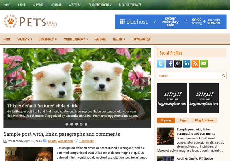 PetsWp Animals Blogger Template. Blogger Themes. Free Blogspot templates for your blogger blog. Best suitable for news blog templates. Ads ready blogspot templates help for add adsense ad code and easily showing adsence ads in your blog. Adapted from WordPress templates are converted from WordPress themes. It is help for take your rich. Blogger magazine template specially designed for magazine blogs. The writers can utilize this themes for take blog attractive to users. Elegant themes are more used themes in most of the blogs. Use minimalist blog templates for rich look for your blog. Free premium blogger themes means, themes authors release two types of themes. One is premium another one is free. Premium templates given for cost but free themes given for no cost. You no need pay From California, USA. $10 USD, or $20 USD and more. But premium buyers get more facilities from authors But free buyers. If you run game or other animation oriented blogs, and you can try with Anime blog templates. Today the world is fashion world. So girls involve to the criteria for make their life fashionable. So we provide fashion blogger themes for make your fashionable. News is most important concept of the world. Download news blogger templates for publishing online news. You can make your blog as online shopping store. Get Online shopping store blogger template to sell your product. Navigation is most important to users find correct place. Download drop down menu, page navigation menu, breadcrumb navigation menu and vertical dropdown menu blogspot themes for free. Google Guide to blogging tips and tricks for bloggers. Google bloggers can get blogspot trick and tips for bloggers. Blog templates portfolio professional blogspot themes, You can store your life moments with your blogs with personal pages templates. Video and movie blogs owners get amazing movie blog themes for their blogs. Business templates download. We publish blogger themes for photographers. Photographers easily share photos via photography blog themes. St valentine Christmas Halloween templates. Download Slideshow slider templates for free. Under construction coming soon custom blogspot template. Best beautiful high quality Custom layouts Blog templates from templateism, SoraTemplates, templatetrackers, simple, cute free premium professional unique designs blog themes blogspot themes. Seo ready portfolio anime fashion movie movies health custom layouts best download blogspot themes simple cute free premium professional unique designs xml html code html5.