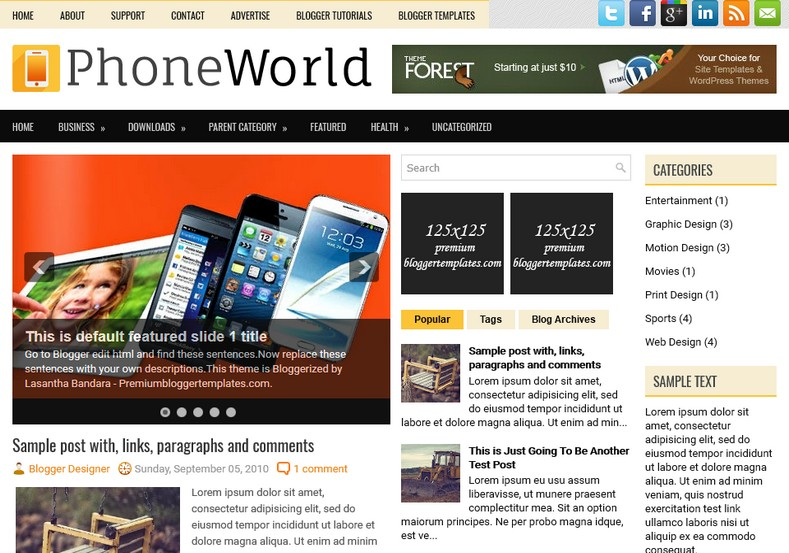PhoneWorld Technology Blogger Template. Blogger Themes. Free Blogspot templates for your blogger blog. Best suitable for news blog templates. Ads ready blogspot templates help for add adsense ad code and easily showing adsence ads in your blog. Adapted from WordPress templates are converted from WordPress themes. It is help for take your rich. Blogger magazine template specially designed for magazine blogs. The writers can utilize this themes for take blog attractive to users. Elegant themes are more used themes in most of the blogs. Use minimalist blog templates for rich look for your blog. Free premium blogger themes means, themes authors release two types of themes. One is premium another one is free. Premium templates given for cost but free themes given for no cost. You no need pay From California, USA. $10 USD, or $20 USD and more. But premium buyers get more facilities from authors But free buyers. If you run game or other animation oriented blogs, and you can try with Anime blog templates. Today the world is fashion world. So girls involve to the criteria for make their life fashionable. So we provide fashion blogger themes for make your fashionable. News is most important concept of the world. Download news blogger templates for publishing online news. You can make your blog as online shopping store. Get Online shopping store blogger template to sell your product. Navigation is most important to users find correct place. Download drop down menu, page navigation menu, breadcrumb navigation menu and vertical dropdown menu blogspot themes for free. Google Guide to blogging tips and tricks for bloggers. Google bloggers can get blogspot trick and tips for bloggers. Blog templates portfolio professional blogspot themes, You can store your life moments with your blogs with personal pages templates. Video and movie blogs owners get amazing movie blog themes for their blogs. Business templates download. We publish blogger themes for photographers. Photographers easily share photos via photography blog themes. St valentine Christmas Halloween templates. Download Slideshow slider templates for free. Under construction coming soon custom blogspot template. Best beautiful high quality Custom layouts Blog templates from templateism, SoraTemplates, templatetrackers, simple, cute free premium professional unique designs blog themes blogspot themes. Seo ready portfolio anime fashion movie movies health custom layouts best download blogspot themes simple cute free premium professional unique designs xml html code html5.