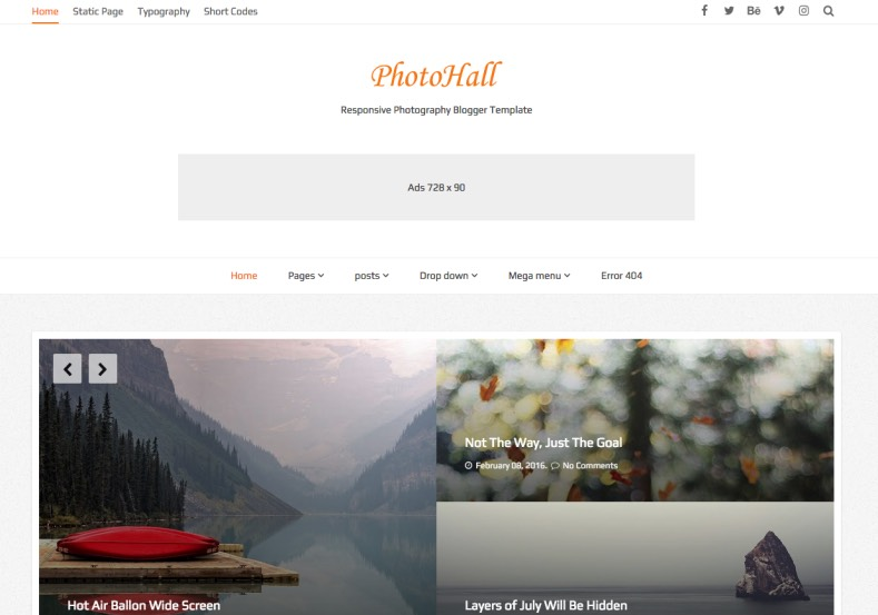 PhotoHall Blogger Template. Make your blogger blog as a hall with your amazing photos. Premium quality blogger templates 2017 do it on your blogger blog. PhotoHall Blogger Template.