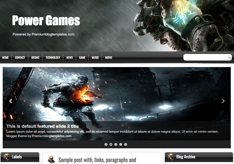 Power Games Blogger Template 2014 Free Download