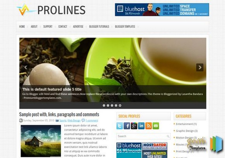 ProLines Blogger Template. Blogger Themes. Free Blogspot templates for your blogger blog. Best suitable for news blog templates. Best Ads ready blogspot templates help for add adsense ad code and easily showing adsence ads in your blog. Adapted from WordPress templates are converted from WordPress themes. It is help for take your rich. Blogger magazine template specially designed for magazine blogs. The writers can utilize this themes for take blog attractive to users. Elegant themes are more used themes in most of the blogs. Use minimalist blog templates for rich look for your blog. Free premium blogger themes means, themes authors release two types of themes. One is premium another one is free. Premium templates given for cost but free themes given for no cost. You no need pay From California, USA. $10 USD, or $20 USD and more. But premium buyers get more facilities from authors But free buyers. If you run game or other animation oriented blogs, and you can try with Anime blog templates. Today the world is fashion world. So girls involve to the criteria for make their life fashionable. So we provide fashion blogger themes for make your fashionable. News is most important concept of the world. Download news blogger templates for publishing online news. You can make your blog as online shopping store. Get Online shopping store blogger template to sell your product. Navigation is most important to users find correct place. Download drop down menu, page navigation menu, breadcrumb navigation menu and vertical dropdown menu blogspot themes for free. Google Guide to blogging tips and tricks for bloggers. Google bloggers can get blogspot trick and tips for bloggers. Blog templates portfolio professional blogspot themes, You can store your life moments with your blogs with personal pages templates. Video and movie blogs owners get amazing movie blog themes for their blogs. Business templates download. We publish blogger themes for photographers. Photographers easily share photos via photography blog themes. St valentine Christmas Halloween templates. Download Slideshow slider templates for free. Under construction coming soon custom blogspot template. Best beautiful high quality Custom layouts Blog templates from templateism, SoraTemplates, templatetrackers, simple, cute free premium professional unique designs blog themes blogspot themes. Seo ready portfolio anime fashion movie movies health custom layouts best download blogspot themes simple cute free premium professional unique designs xml html code html5.