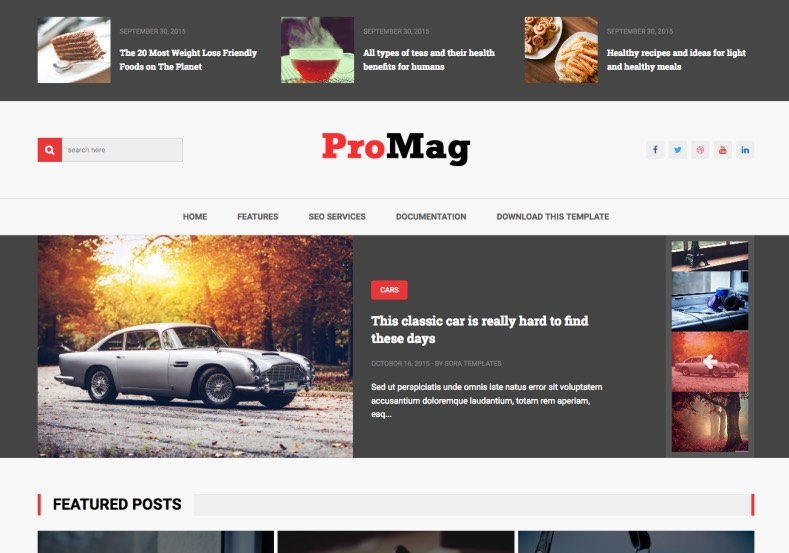ProMag Blogger Template. Blogger template have mega menu features and gallery style blog style. Combined color with red. Download free version of ProMag Blogger Template.