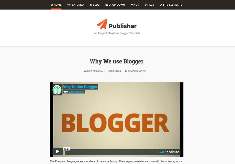 Publisher Blogger Template. Blogger Themes. Free Blogspot templates for your blogger blog. Best suitable for news blog templates. Best Ads ready blogspot templates help for add adsense ad code and easily showing adsence ads in your blog. Adapted from WordPress templates are converted from WordPress themes. It is help for take your rich. Blogger magazine template specially designed for magazine blogs. The writers can utilize this themes for take blog attractive to users. Elegant themes are more used themes in most of the blogs. Use minimalist blog templates for rich look for your blog. Free premium blogger themes means, themes authors release two types of themes. One is premium another one is free. Premium templates given for cost but free themes given for no cost. You no need pay From California, USA. $10 USD, or $20 USD and more. But premium buyers get more facilities from authors But free buyers. If you run game or other animation oriented blogs, and you can try with Anime blog templates. Today the world is fashion world. So girls involve to the criteria for make their life fashionable. So we provide fashion blogger themes for make your fashionable. News is most important concept of the world. Download news blogger templates for publishing online news. You can make your blog as online shopping store. Get Online shopping store blogger template to sell your product. Navigation is most important to users find correct place. Download drop down menu, page navigation menu, breadcrumb navigation menu and vertical dropdown menu blogspot themes for free. Google Guide to blogging tips and tricks for bloggers. Google bloggers can get blogspot trick and tips for bloggers. Blog templates portfolio professional blogspot themes, You can store your life moments with your blogs with personal pages templates. Video and movie blogs owners get amazing movie blog themes for their blogs. Business templates download. We publish blogger themes for photographers. Photographers easily share photos via photography blog themes. St valentine Christmas Halloween templates. Download Slideshow slider templates for free. Under construction coming soon custom blogspot template. Best beautiful high quality Custom layouts Blog templates from templateism, SoraTemplates, templatetrackers, simple, cute free premium professional unique designs blog themes blogspot themes. Seo ready portfolio anime fashion movie movies health custom layouts best download blogspot themes simple cute free premium professional unique designs xml html code html5. Publisher Blogger Template