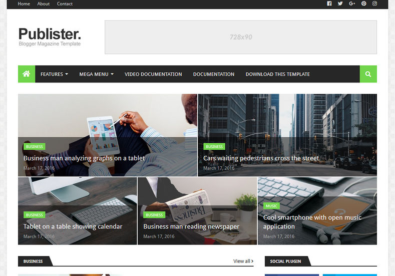 Publister Blogger Template is a highly rated magazine responsive news blogger themes of 2018 with best and latest fast loading and whatsapp sharing features