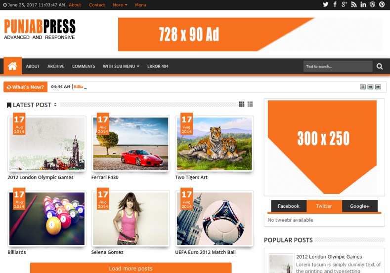 Punjab Press v5 Blogger Template. Blogger Themes. Free Blogspot templates for your blogger blog. Best suitable for news blog templates. Best Ads ready blogspot templates help for add adsense ad code and easily showing adsence ads in your blog. Adapted from WordPress templates are converted from WordPress themes. It is help for take your rich. Blogger magazine template specially designed for magazine blogs. The writers can utilize this themes for take blog attractive to users. Elegant themes are more used themes in most of the blogs. Use minimalist blog templates for rich look for your blog. Free premium blogger themes means, themes authors release two types of themes. One is premium another one is free. Premium templates given for cost but free themes given for no cost. You no need pay From California, USA. $10 USD, or $20 USD and more. But premium buyers get more facilities from authors But free buyers. If you run game or other animation oriented blogs, and you can try with Anime blog templates. Today the world is fashion world. So girls involve to the criteria for make their life fashionable. So we provide fashion blogger themes for make your fashionable. News is most important concept of the world. Download news blogger templates for publishing online news. You can make your blog as online shopping store. Get Online shopping store blogger template to sell your product. Navigation is most important to users find correct place. Download drop down menu, page navigation menu, breadcrumb navigation menu and vertical dropdown menu blogspot themes for free. Google Guide to blogging tips and tricks for bloggers. Google bloggers can get blogspot trick and tips for bloggers. Blog templates portfolio professional blogspot themes, You can store your life moments with your blogs with personal pages templates. Video and movie blogs owners get amazing movie blog themes for their blogs. Business templates download. We publish blogger themes for photographers. Photographers easily share photos via photography blog themes. St valentine Christmas Halloween templates. Download Slideshow slider templates for free. Under construction coming soon custom blogspot template. Best beautiful high quality Custom layouts Blog templates from templateism, soratemplates, templatetrackers, simple, cute free premium professional unique designs blog themes blogspot themes. Seo ready portfolio anime fashion movie movies health custom layouts best download blogspot themes simple cute free premium professional unique designs xml html code html5. Punjab Press v5 Blogger Template