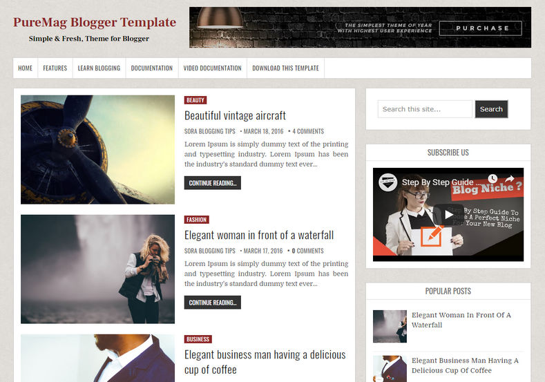 PureMag Blogger Template is a very minimal, elegant, fast loading blogspot theme with latest stylish and simple design
