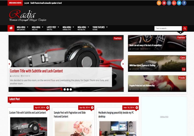 Radja Blogger Template 2015. Buy premium blogger templates