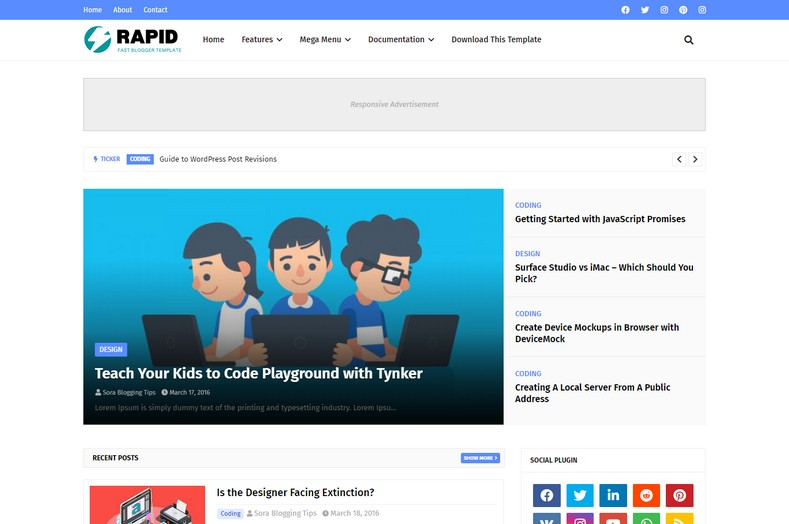 Rapid Blogger Template is a latest generation blogspot theme with great functionalities, that lets you create outstanding blogs with professional features.