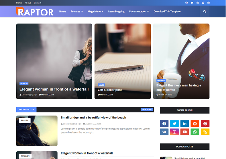 Raptor Blogger Template is a fast loading flexible and elegant looking professionally designed semi magazine theme with seo friendly code and latest features