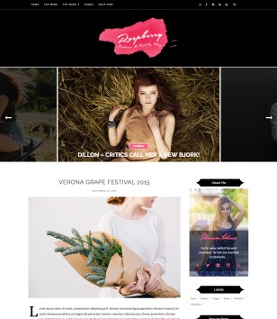 Raspberry Dark Blogger Templates
