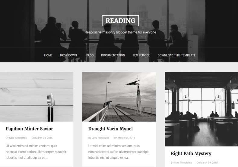 Reading Blogger Template. Fully dark and white colored blogger template 2017 for who want built blog with classical and simple design. Free and best Reading Blogger Template available to download.