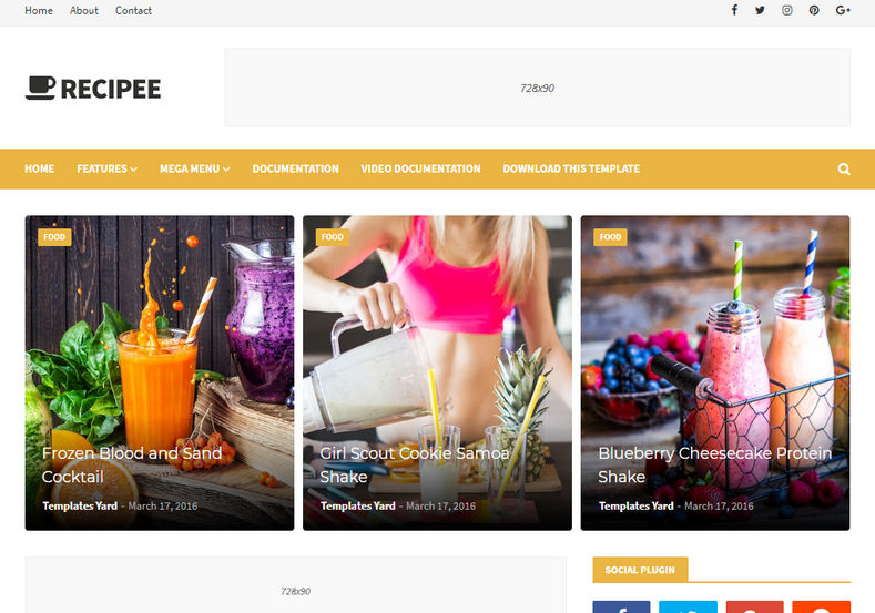 Recipee Blogger Template is a minimalist and responsive elegant fast loading recipe blogger theme that is ideal for food bloggers, lovers and critics