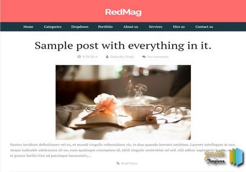 RedMag Blogger Template 2015 magazine templates