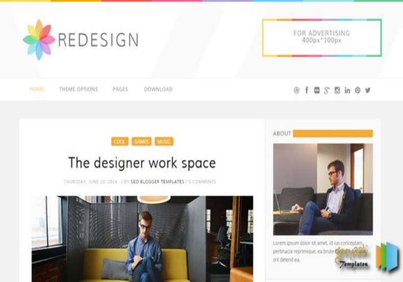 Redesign Responsive Blogger Template. Blogger Templates 2015, Free blogger templates, blogspot themes