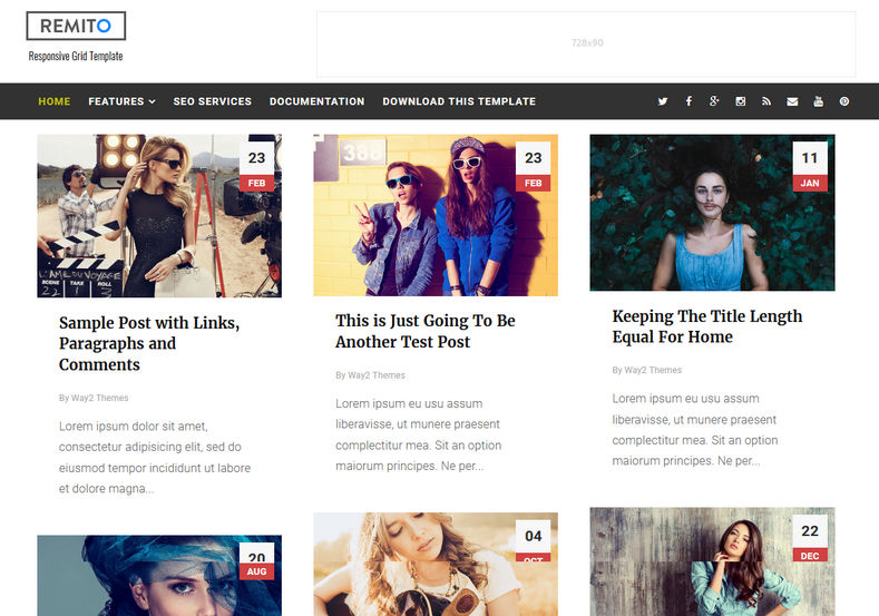 Remito Grid Blogger Template is a grid theme with clean and simple apprearance with 100% responsive and seo friendly features