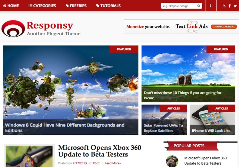 Responsy Blogger Template free download 2018
