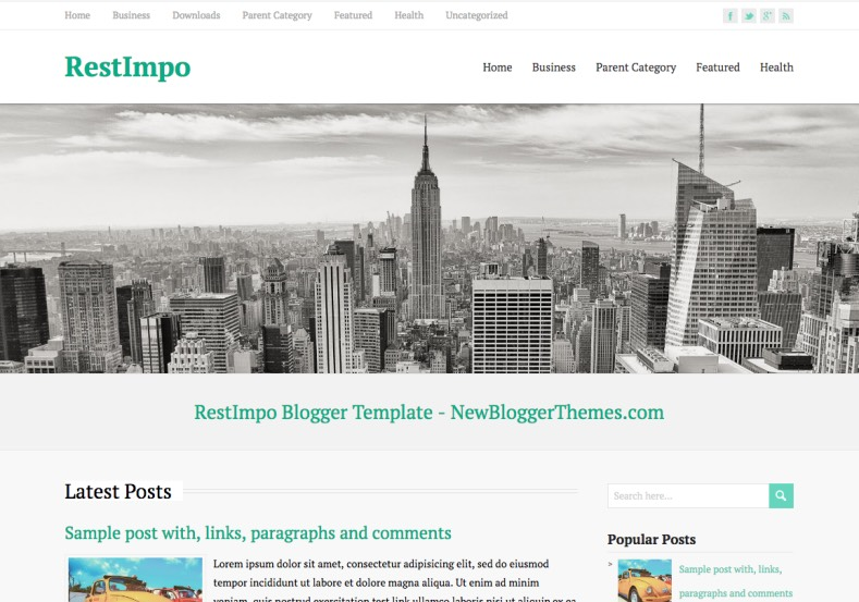 RestImpo Responsive Blogger Template. Blogger Themes. Free Blogspot templates for your blogger blog. Best suitable for news blog templates. Best Ads ready blogspot templates help for add adsense ad code and easily showing adsence ads in your blog. Adapted from WordPress templates are converted from WordPress themes. It is help for take your rich. Blogger magazine template specially designed for magazine blogs. The writers can utilize this themes for take blog attractive to users. Elegant themes are more used themes in most of the blogs. Use minimalist blog templates for rich look for your blog. Free premium blogger themes means, themes authors release two types of themes. One is premium another one is free. Premium templates given for cost but free themes given for no cost. You no need pay From California, USA. $10 USD, or $20 USD and more. But premium buyers get more facilities from authors But free buyers. If you run game or other animation oriented blogs, and you can try with Anime blog templates. Today the world is fashion world. So girls involve to the criteria for make their life fashionable. So we provide fashion blogger themes for make your fashionable. News is most important concept of the world. Download news blogger templates for publishing online news. You can make your blog as online shopping store. Get Online shopping store blogger template to sell your product. Navigation is most important to users find correct place. Download drop down menu, page navigation menu, breadcrumb navigation menu and vertical dropdown menu blogspot themes for free. Google Guide to blogging tips and tricks for bloggers. Google bloggers can get blogspot trick and tips for bloggers. Blog templates portfolio professional blogspot themes, You can store your life moments with your blogs with personal pages templates. Video and movie blogs owners get amazing movie blog themes for their blogs. Business templates download. We publish blogger themes for photographers. Photographers easily share photos via photography blog themes. St valentine Christmas Halloween templates. Download Slideshow slider templates for free. Under construction coming soon custom blogspot template. Best beautiful high quality Custom layouts Blog templates from templateism, SoraTemplates, templatetrackers, simple, cute free premium professional unique designs blog themes blogspot themes. Seo ready portfolio anime fashion movie movies health custom layouts best download blogspot themes simple cute free premium professional unique designs xml html code html5.