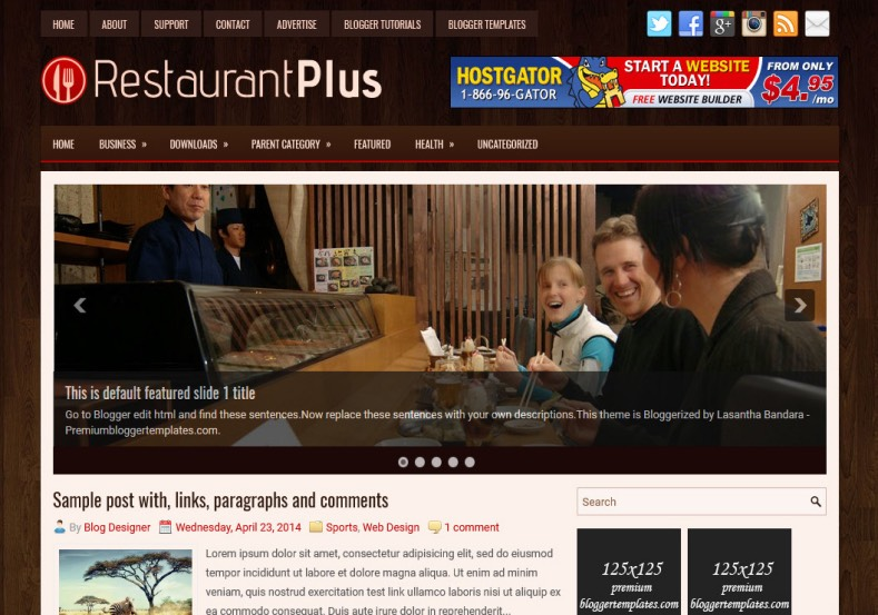 RestaurantPlus Blogger Template. Blogger Themes. Best suitable for news blog templates. Ads ready blogspot templates help for add adsense ad code and easily showing adsence ads in your blog. Adapted from WordPress templates are converted from WordPress themes. It is help for take your rich. Blogger magazine template specially designed for magazine blogs. The writers can utilize this themes for take blog attractive to users. Elegant themes are more used themes in most of the blogs. Minimalist blog templates. Free premium blogger themes means, themes authors release two types of themes. One is premium another one is free. Premium templates given for cost but free themes given for no cost. You no need pay From California, USA. $10 USD, or $20 USD and more. But premium buyers get more facilities from authors But free buyers. If you run game or other animation oriented blogs, and you can try with Anime blog templates. Today the world is fashion world. So girls involve to the criteria for make their life fashionable. So we provide fashion blogger themes for make your fashionable. News is most important concept of the world. Download news blogger templates for publishing online news. You can make your blog as online shopping store. Get Online shopping store blogger template to sell your product. Navigation is most important to users find correct place. Download drop down menu, page navigation menu, breadcrumb navigation menu and vertical dropdown menu blogspot themes for free. Google Guide. Blogging tips and Tricks for bloggers. Google bloggers can get blogspot trick and tips for bloggers. Blog templates portfolio professional blogspot themes, You can store your life moments with your blogs with personal pages templates. Video and movie blogs owners get amazing movie blog themes for their blogs. Business templates download. We publish blogger themes for photographers. Photographers easily share photos via photography blog themes. St valentine Christmas Halloween templates. Download Slideshow slider templates for free. Under construction coming soon custom blogspot template. Best beautiful high quality Custom layouts Blog templates from templateism, SoraTemplates, templatetrackers, simple, cute free premium professional unique designs blog themes blogspot themes. Seo ready portfolio anime fashion movie movies health custom layouts best download blogspot themes simple cute free premium professional unique designs xml html code html5.