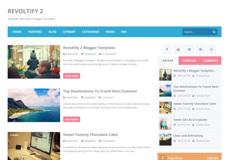 Revoltify Alternate 2 Blogger Template. Blogger Themes. Free Blogspot templates for your blogger blog. Best suitable for news blog templates. Ads ready blogspot templates help for add adsense ad code and easily showing adsence ads in your blog. Adapted from WordPress templates are converted from WordPress themes. It is help for take your rich. Blogger magazine template specially designed for magazine blogs. The writers can utilize this themes for take blog attractive to users. Elegant themes are more used themes in most of the blogs. Use minimalist blog templates for rich look for your blog. Free premium blogger themes means, themes authors release two types of themes. One is premium another one is free. Premium templates given for cost but free themes given for no cost. You no need pay From California, USA. $10 USD, or $20 USD and more. But premium buyers get more facilities from authors But free buyers. If you run game or other animation oriented blogs, and you can try with Anime blog templates. Today the world is fashion world. So girls involve to the criteria for make their life fashionable. So we provide fashion blogger themes for make your fashionable. News is most important concept of the world. Download news blogger templates for publishing online news. You can make your blog as online shopping store. Get Online shopping store blogger template to sell your product. Navigation is most important to users find correct place. Download drop down menu, page navigation menu, breadcrumb navigation menu and vertical dropdown menu blogspot themes for free. Google Guide to blogging tips and tricks for bloggers. Google bloggers can get blogspot trick and tips for bloggers. Blog templates portfolio professional blogspot themes, You can store your life moments with your blogs with personal pages templates. Video and movie blogs owners get amazing movie blog themes for their blogs. Business templates download. We publish blogger themes for photographers. Photographers easily share photos via photography blog themes. St valentine Christmas Halloween templates. Download Slideshow slider templates for free. Under construction coming soon custom blogspot template. Best beautiful high quality Custom layouts Blog templates from templateism, SoraTemplates, templatetrackers, simple, cute free premium professional unique designs blog themes blogspot themes. Seo ready portfolio anime fashion movie movies health custom layouts best download blogspot themes simple cute free premium professional unique designs xml html code html5.