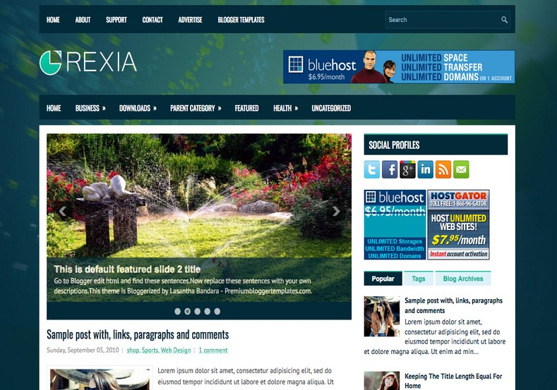 Rexia 2 Columns Blogger Template. Blogger Themes. Free Blogspot templates for your blogger blog. Best suitable for news blog templates. Best Ads ready blogspot templates help for add adsense ad code and easily showing adsence ads in your blog. Adapted from WordPress templates are converted from WordPress themes. It is help for take your rich. Blogger magazine template specially designed for magazine blogs. The writers can utilize this themes for take blog attractive to users. Elegant themes are more used themes in most of the blogs. Use minimalist blog templates for rich look for your blog. Free premium blogger themes means, themes authors release two types of themes. One is premium another one is free. Premium templates given for cost but free themes given for no cost. You no need pay From California, USA. $10 USD, or $20 USD and more. But premium buyers get more facilities from authors But free buyers. If you run game or other animation oriented blogs, and you can try with Anime blog templates. Today the world is fashion world. So girls involve to the criteria for make their life fashionable. So we provide fashion blogger themes for make your fashionable. News is most important concept of the world. Download news blogger templates for publishing online news. You can make your blog as online shopping store. Get Online shopping store blogger template to sell your product. Navigation is most important to users find correct place. Download drop down menu, page navigation menu, breadcrumb navigation menu and vertical dropdown menu blogspot themes for free. Google Guide to blogging tips and tricks for bloggers. Google bloggers can get blogspot trick and tips for bloggers. Blog templates portfolio professional blogspot themes, You can store your life moments with your blogs with personal pages templates. Video and movie blogs owners get amazing movie blog themes for their blogs. Business templates download. We publish blogger themes for photographers. Photographers easil