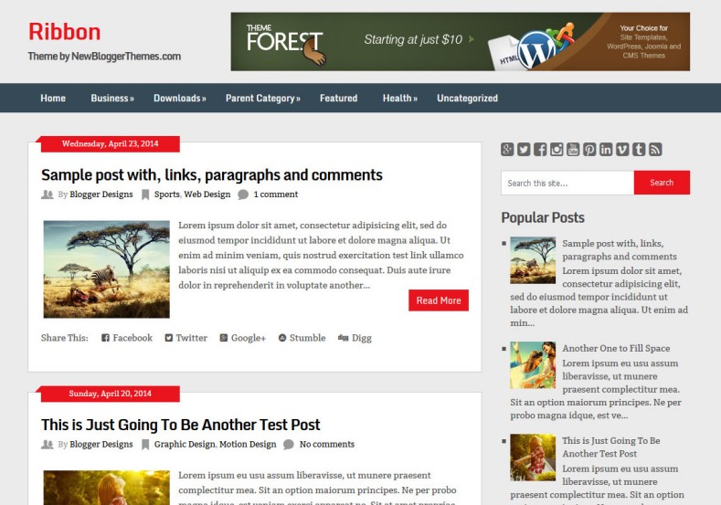Ribbon blogspot Blogger Template magazine