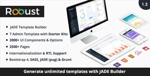 Robust - Responsive Bootstrap 4 Admin Template + Jade Builder