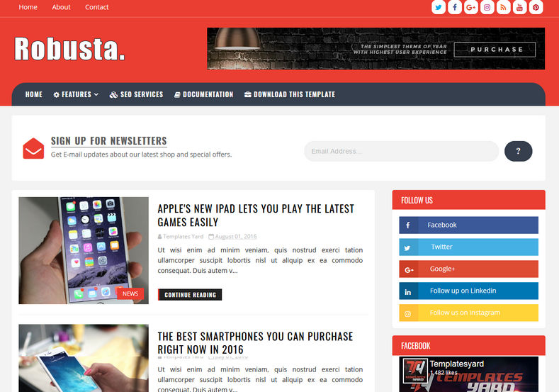 Robusta Blogger Template is a content and targetted blogspot themes for news, technology and magazine blogs
