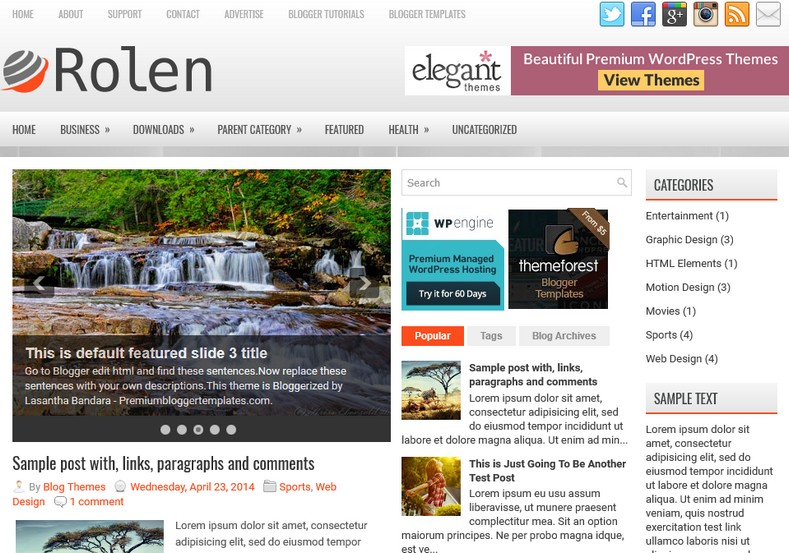 Rolen 3 columns blogger template free graphics free for Create your own wordpress theme from an html template