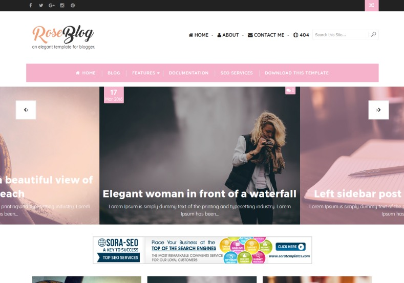 Rose Blog Blogger Template blog template free blogger templates 2017 with new and modern design blogger layouts. Download best magazine blog themes Rose Blog Blogger Template.