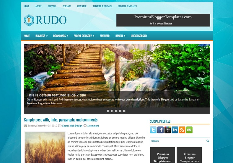 Rudo Blue Blogger Template. Blogger Themes. Free Blogspot templates for your blogger blog. Best suitable for news blog templates. Best Ads ready blogspot templates help for add adsense ad code and easily showing adsence ads in your blog. Adapted from WordPress templates are converted from WordPress themes. It is help for take your rich. Blogger magazine template specially designed for magazine blogs. The writers can utilize this themes for take blog attractive to users. Elegant themes are more used themes in most of the blogs. Use minimalist blog templates for rich look for your blog. Free premium blogger themes means, themes authors release two types of themes. One is premium another one is free. Premium templates given for cost but free themes given for no cost. You no need pay From California, USA. $10 USD, or $20 USD and more. But premium buyers get more facilities from authors But free buyers. If you run game or other animation oriented blogs, and you can try with Anime blog templates. Today the world is fashion world. So girls involve to the criteria for make their life fashionable. So we provide fashion blogger themes for make your fashionable. News is most important concept of the world. Download news blogger templates for publishing online news. You can make your blog as online shopping store. Get Online shopping store blogger template to sell your product. Navigation is most important to users find correct place. Download drop down menu, page navigation menu, breadcrumb navigation menu and vertical dropdown menu blogspot themes for free. Google Guide to blogging tips and tricks for bloggers. Google bloggers can get blogspot trick and tips for bloggers. Blog templates portfolio professional blogspot themes, You can store your life moments with your blogs with personal pages templates. Video and movie blogs owners get amazing movie blog themes for their blogs. Business templates download. We publish blogger themes for photographers. Photographers easily share photos via photography blog themes. St valentine Christmas Halloween templates. Download Slideshow slider templates for free. Under construction coming soon custom blogspot template. Best beautiful high quality Custom layouts Blog templates from templateism, SoraTemplates, templatetrackers, simple, cute free premium professional unique designs blog themes blogspot themes. Seo ready portfolio anime fashion movie movies health custom layouts best download blogspot themes simple cute free premium professional unique designs xml html code html5.
