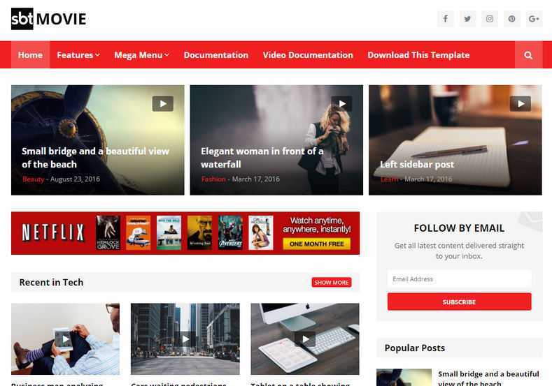 SBT Movie Blogger Template is an amazingly designed responsive blogspot theme that has unique look and premium fast loading seo friendly features.