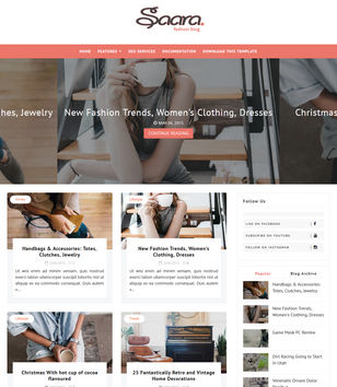 Saara Fashion Blog Blogger Templates