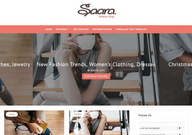 Saara Fashion Blog Blogger Template is a clean, minimal and simple blogspot theme with fast loading and 100% responsive features. It is best for fashion, lifestyle and hobby bloggers