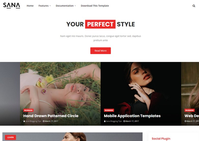 Sana Blogger Template is a stylish blogging blogspot theme crafted with perfection and SEO friendly layout design
