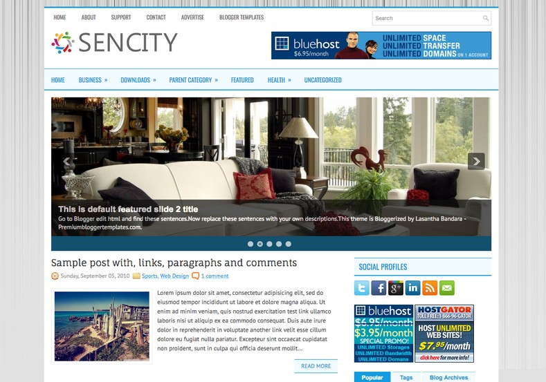 Sencity 2 Columns Blogger Template. Blogger Themes. Free Blogspot templates for your blogger blog. Best suitable for news blog templates. Best Ads ready blogspot templates help for add adsense ad code and easily showing adsence ads in your blog. Adapted from WordPress templates are converted from WordPress themes. It is help for take your rich. Blogger magazine template specially designed for magazine blogs. The writers can utilize this themes for take blog attractive to users. Elegant themes are more used themes in most of the blogs. Use minimalist blog templates for rich look for your blog. Free premium blogger themes means, themes authors release two types of themes. One is premium another one is free. Premium templates given for cost but free themes given for no cost. You no need pay From California, USA. $10 USD, or $20 USD and more. But premium buyers get more facilities from authors But free buyers. If you run game or other animation oriented blogs, and you can try with Anime blog templates. Today the world is fashion world. So girls involve to the criteria for make their life fashionable. So we provide fashion blogger themes for make your fashionable. News is most important concept of the world. Download news blogger templates for publishing online news. You can make your blog as online shopping store. Get Online shopping store blogger template to sell your product. Navigation is most important to users find correct place. Download drop down menu, page navigation menu, breadcrumb navigation menu and vertical dropdown menu blogspot themes for free. Google Guide to blogging tips and tricks for bloggers. Google bloggers can get blogspot trick and tips for bloggers. Blog templates portfolio professional blogspot themes, You can store your life moments with your blogs with personal pages templates. Video and movie blogs owners get amazing movie blog themes for their blogs. Business templates download. We publish blogger themes for photographers. Photographers easily share photos via photography blog themes. St valentine Christmas Halloween templates. Download Slideshow slider templates for free. Under construction coming soon custom blogspot template. Best beautiful high quality Custom layouts Blog templates from templateism, SoraTemplates, templatetrackers, simple, cute free premium professional unique designs blog themes blogspot themes. Seo ready portfolio anime fashion movie movies health custom layouts best download blogspot themes simple cute free premium professional unique designs xml html code html5.
