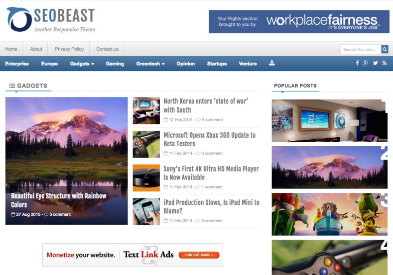 SeoBeast Blogger Template. Blogger Themes. Free Blogspot templates for your blogger blog. Best suitable for news blog templates. Best Ads ready blogspot templates help for add adsense ad code and easily showing adsence ads in your blog. Adapted from WordPress templates are converted from WordPress themes. It is help for take your rich. Blogger magazine template specially designed for magazine blogs. The writers can utilize this themes for take blog attractive to users. Elegant themes are more used themes in most of the blogs. Use minimalist blog templates for rich look for your blog. Free premium blogger themes means, themes authors release two types of themes. One is premium another one is free. Premium templates given for cost but free themes given for no cost. You no need pay From California, USA. $10 USD, or $20 USD and more. But premium buyers get more facilities from authors But free buyers. If you run game or other animation oriented blogs, and you can try with Anime blog templates. Today the world is fashion world. So girls involve to the criteria for make their life fashionable. So we provide fashion blogger themes for make your fashionable. News is most important concept of the world. Download news blogger templates for publishing online news. You can make your blog as online shopping store. Get Online shopping store blogger template to sell your product. Navigation is most important to users find correct place. Download drop down menu, page navigation menu, breadcrumb navigation menu and vertical dropdown menu blogspot themes for free. Google Guide to blogging tips and tricks for bloggers. Google bloggers can get blogspot trick and tips for bloggers. Blog templates portfolio professional blogspot themes, You can store your life moments with your blogs with personal pages templates. Video and movie blogs owners get amazing movie blog themes for their blogs. Business templates download. We publish blogger themes for photographers. Photographers easily share photos via photography blog themes. St valentine Christmas Halloween templates. Download Slideshow slider templates for free. Under construction coming soon custom blogspot template. Best beautiful high quality Custom layouts Blog templates from templateism, SoraTemplates, templatetrackers, simple, cute free premium professional unique designs blog themes blogspot themes. Seo ready portfolio anime fashion movie movies health custom layouts best download blogspot themes simple cute free premium professional unique designs xml html code html5. SeoBeast Blogger Template