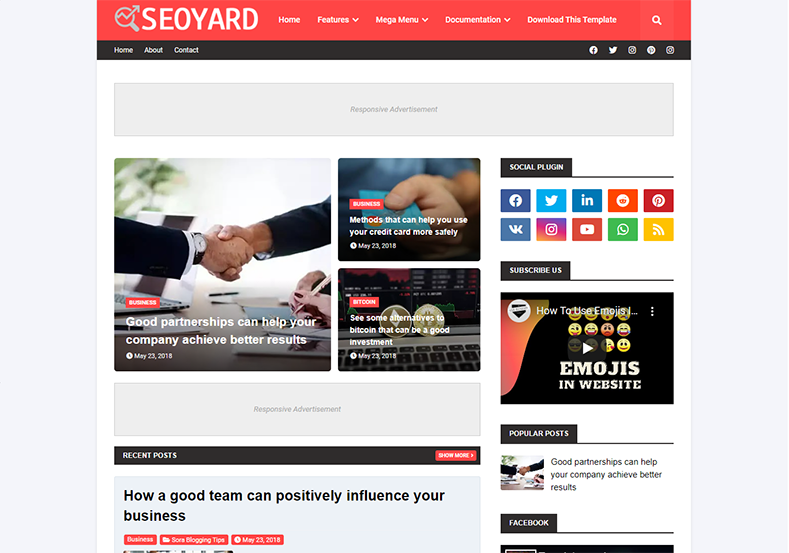 SeoYard Blogger Template is a clean and fast loading blogging blogspot theme with latest seo features and fast loading speed