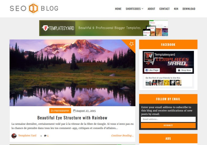 Seoblog Blogger Template. Free blogger templates 2017 with orange color combination suitable for photography magazine and online emagazine blogspot blogs. Seoblog Blogger Template.