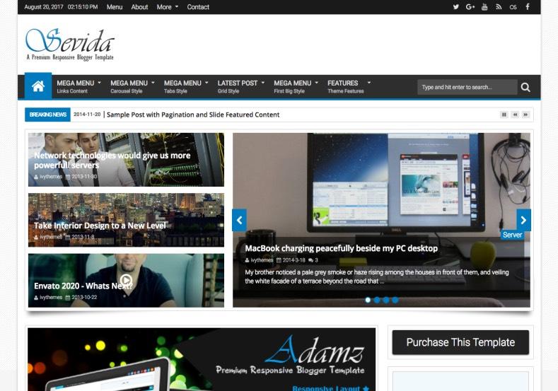 Sevida Blogger Template 2015. buy premium templates