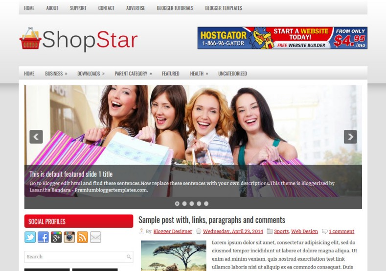 ShopStar Blogger Template. Blogger Themes. Best suitable for news blog templates. Ads ready blogspot templates help for add adsense ad code and easily showing adsence ads in your blog. Adapted from WordPress templates are converted from WordPress themes. It is help for take your rich. Blogger magazine template specially designed for magazine blogs. The writers can utilize this themes for take blog attractive to users. Elegant themes are more used themes in most of the blogs. Minimalist blog templates. Free premium blogger themes means, themes authors release two types of themes. One is premium another one is free. Premium templates given for cost but free themes given for no cost. You no need pay From California, USA. $10 USD, or $20 USD and more. But premium buyers get more facilities from authors But free buyers. If you run game or other animation oriented blogs, and you can try with Anime blog templates. Today the world is fashion world. So girls involve to the criteria for make their life fashionable. So we provide fashion blogger themes for make your fashionable. News is most important concept of the world. Download news blogger templates for publishing online news. You can make your blog as online shopping store. Get Online shopping store blogger template to sell your product. Navigation is most important to users find correct place. Download drop down menu, page navigation menu, breadcrumb navigation menu and vertical dropdown menu blogspot themes for free. Google Guide. Blogging tips and Tricks for bloggers. Google bloggers can get blogspot trick and tips for bloggers. Blog templates portfolio professional blogspot themes, You can store your life moments with your blogs with personal pages templates. Video and movie blogs owners get amazing movie blog themes for their blogs. Business templates download. We publish blogger themes for photographers. Photographers easily share photos via photography blog themes. St valentine Christmas Halloween templates. Download Slideshow slider templates for free. Under construction coming soon custom blogspot template. Best beautiful high quality Custom layouts Blog templates from templateism, SoraTemplates, templatetrackers, simple, cute free premium professional unique designs blog themes blogspot themes. Seo ready portfolio anime fashion movie movies health custom layouts best download blogspot themes simple cute free premium professional unique designs xml html code html5.