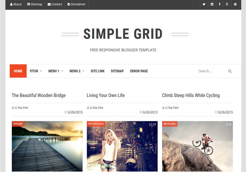 simple grid blogger template blogspot templates 2018