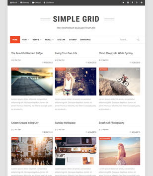 Simple Grid Blogger Template Blogspot Templates 2019