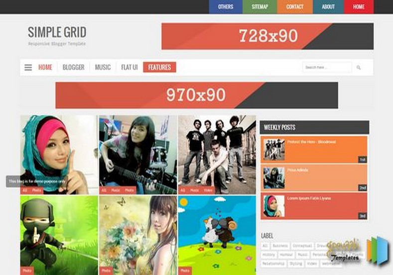 Simple Grid V2 Responsive Blogger Template 2014 Free Blogger Themes
