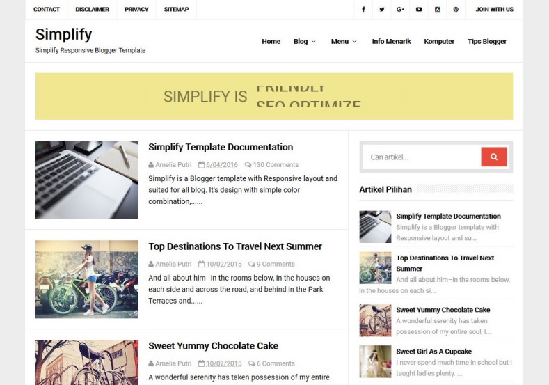 simplify-responsive-blogger-template. It is really simple template with features can add or showing responsive ads unit on your blogger blog. simplify-responsive-blogger-template.