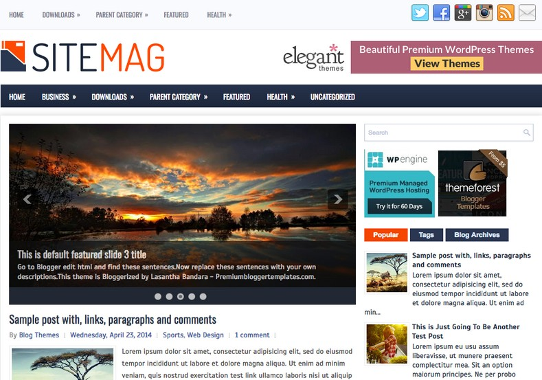 SiteMag Blogger Template. Blogger Themes. Free Blogspot templates for your blogger blog. Best suitable for news blog templates. Best Ads ready blogspot templates help for add adsense ad code and easily showing adsence ads in your blog. Adapted from WordPress templates are converted from WordPress themes. It is help for take your rich. Blogger magazine template specially designed for magazine blogs. The writers can utilize this themes for take blog attractive to users. Elegant themes are more used themes in most of the blogs. Use minimalist blog templates for rich look for your blog. Free premium blogger themes means, themes authors release two types of themes. One is premium another one is free. Premium templates given for cost but free themes given for no cost. You no need pay From California, USA. $10 USD, or $20 USD and more. But premium buyers get more facilities from authors But free buyers. If you run game or other animation oriented blogs, and you can try with Anime blog templates. Today the world is fashion world. So girls involve to the criteria for make their life fashionable. So we provide fashion blogger themes for make your fashionable. News is most important concept of the world. Download news blogger templates for publishing online news. You can make your blog as online shopping store. Get Online shopping store blogger template to sell your product. Navigation is most important to users find correct place. Download drop down menu, page navigation menu, breadcrumb navigation menu and vertical dropdown menu blogspot themes for free. Google Guide to blogging tips and tricks for bloggers. Google bloggers can get blogspot trick and tips for bloggers. Blog templates portfolio professional blogspot themes, You can store your life moments with your blogs with personal pages templates. Video and movie blogs owners get amazing movie blog themes for their blogs. Business templates download. We publish blogger themes for photographers. Photographers easily share photos via photography blog themes. St valentine Christmas Halloween templates. Download Slideshow slider templates for free. Under construction coming soon custom blogspot template. Best beautiful high quality Custom layouts Blog templates from templateism, SoraTemplates, templatetrackers, simple, cute free premium professional unique designs blog themes blogspot themes. Seo ready portfolio anime fashion movie movies health custom layouts best download blogspot themes simple cute free premium professional unique designs xml html code html5.
