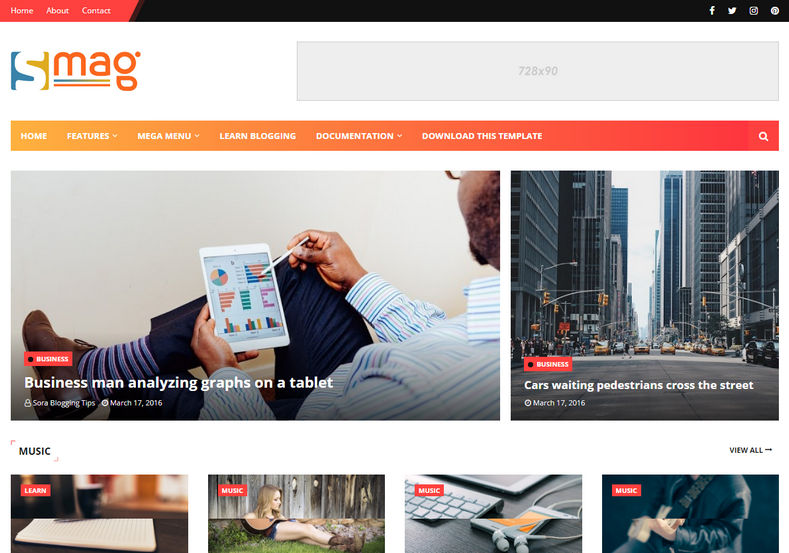 Smag Blogger Template is a professionally designed responsive and beautifully crafted news/blog magazine blogger theme with latest and unique magazine look and features